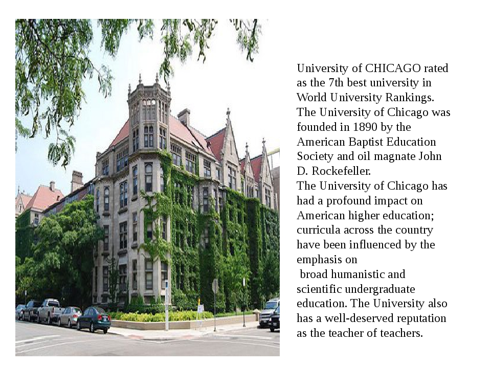 University of CHICAGO rated as the 7th best university in World University Ra...