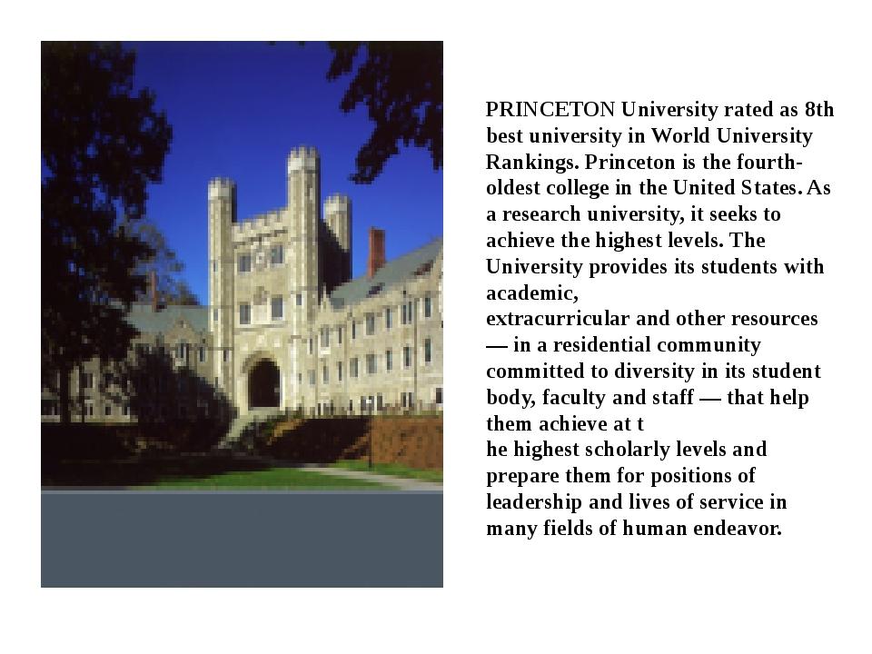 PRINCETON University rated as 8th best university in World University Ranking...