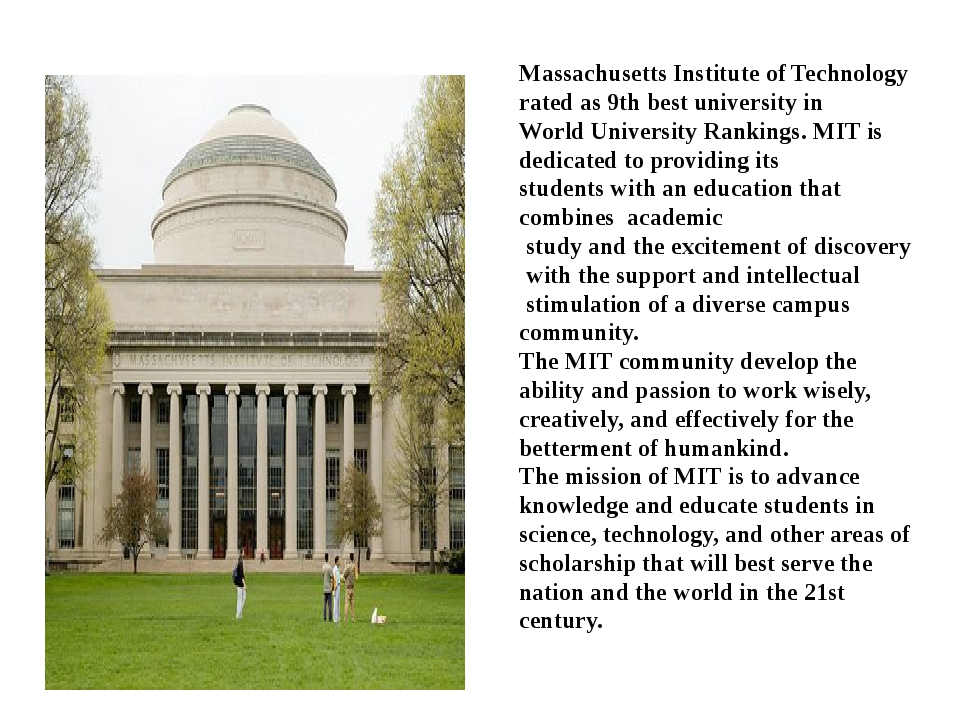 Massachusetts Institute of Technology rated as 9th best university in World U...