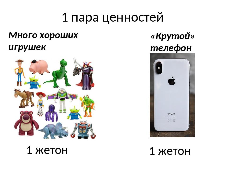 1 пара ценностей 1 жетон 1 жетон Много хороших игрушек «Крутой» телефон