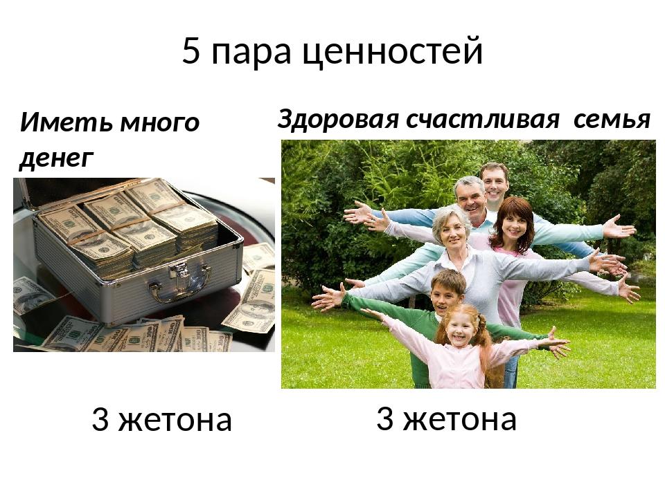 5 пара ценностей 3 жетона 3 жетона Иметь много денег Здоровая счастливая семья