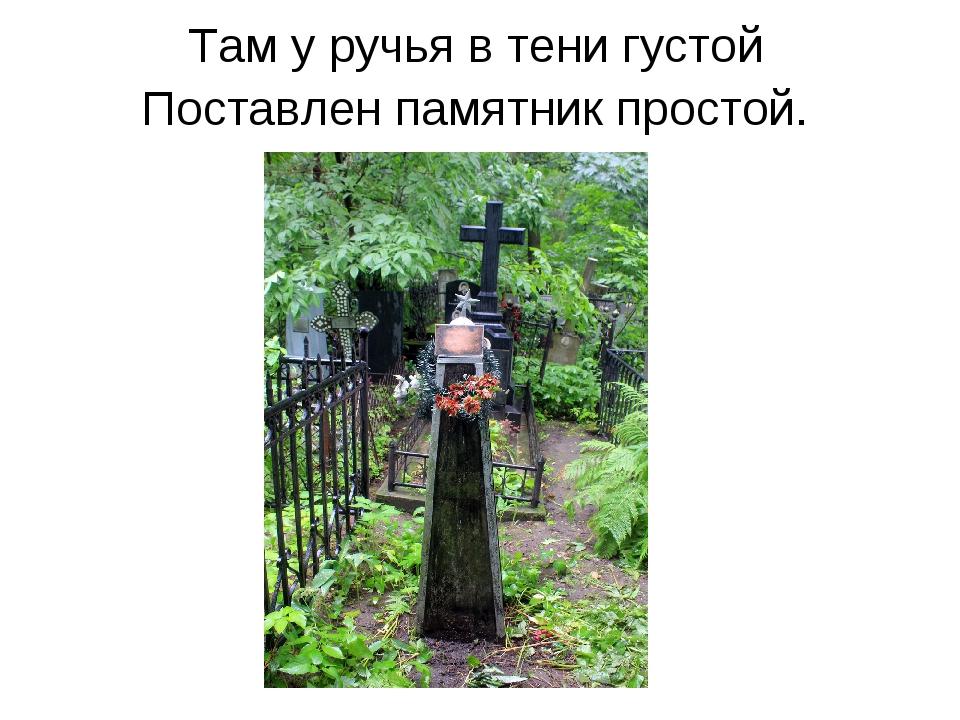Там у ручья в тени густой Поставлен памятник простой.