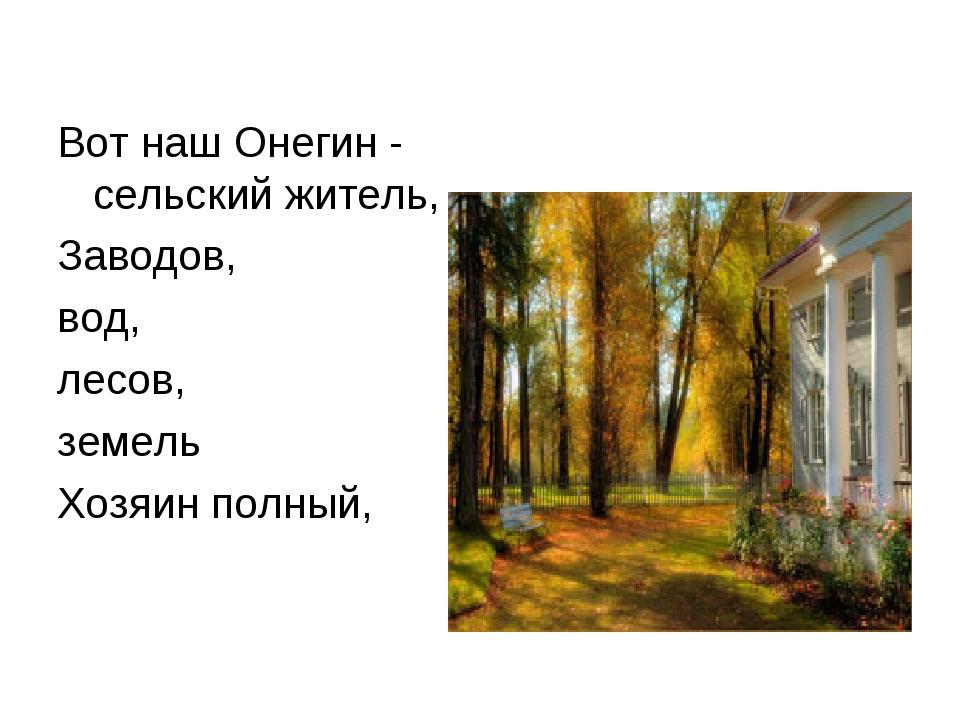 Вот наш Онегин - сельский житель, Заводов, вод, лесов, земель Хозяин полный,
