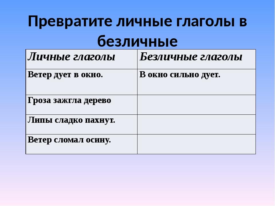 Превратите личные глаголы в безличные Личные глаголы Безличные глаголы Ветер...