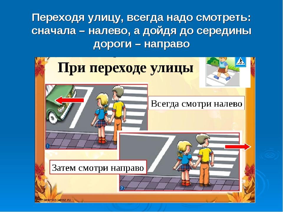 Переходя улицу, всегда надо смотреть: сначала – налево, а дойдя до середины д...