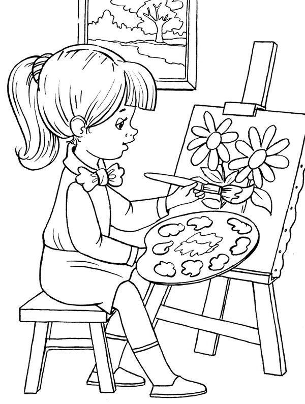Картинка девочки которая рисует