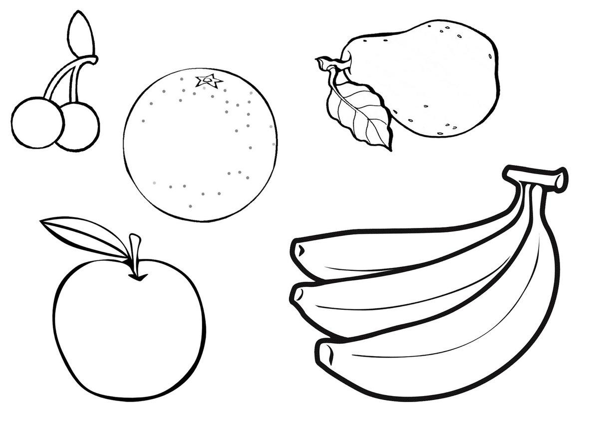 Картинки овощи и фрукты по одному раскраски