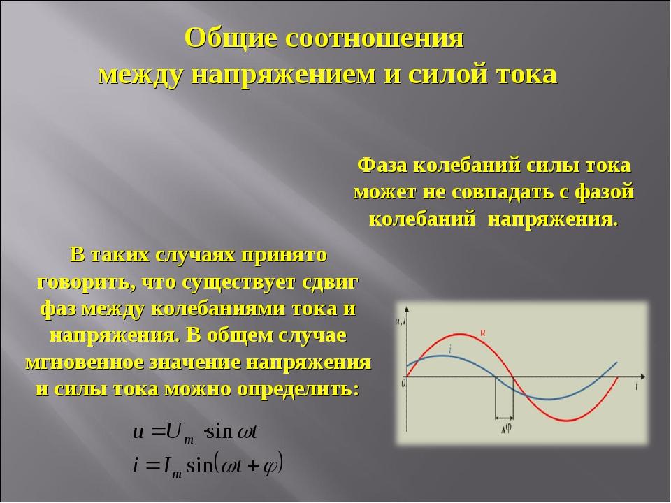 Общие соотношения между напряжением и силой тока Фаза колебаний силы тока мож...