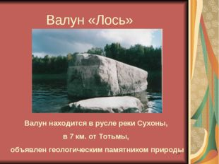* Валун «Лось» Валун находится в русле реки Сухоны, в 7 км. от Тотьмы, объявл