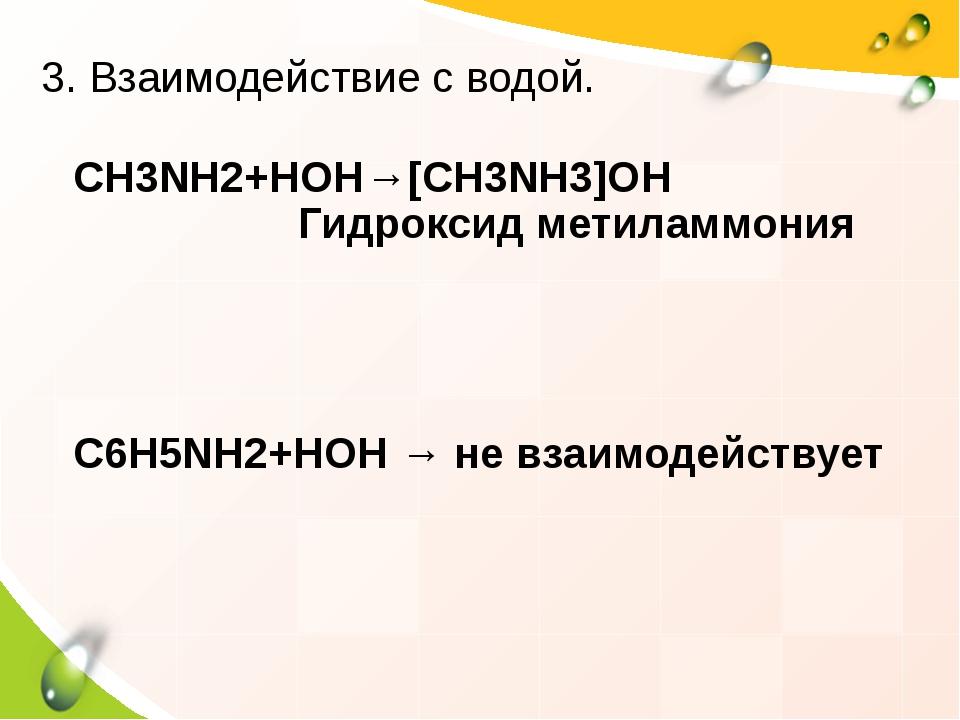 CH3NH2+HOH→[CH3NH3]OH Гидроксид метиламмония C6H5NH2+HOH → не взаимодействует...