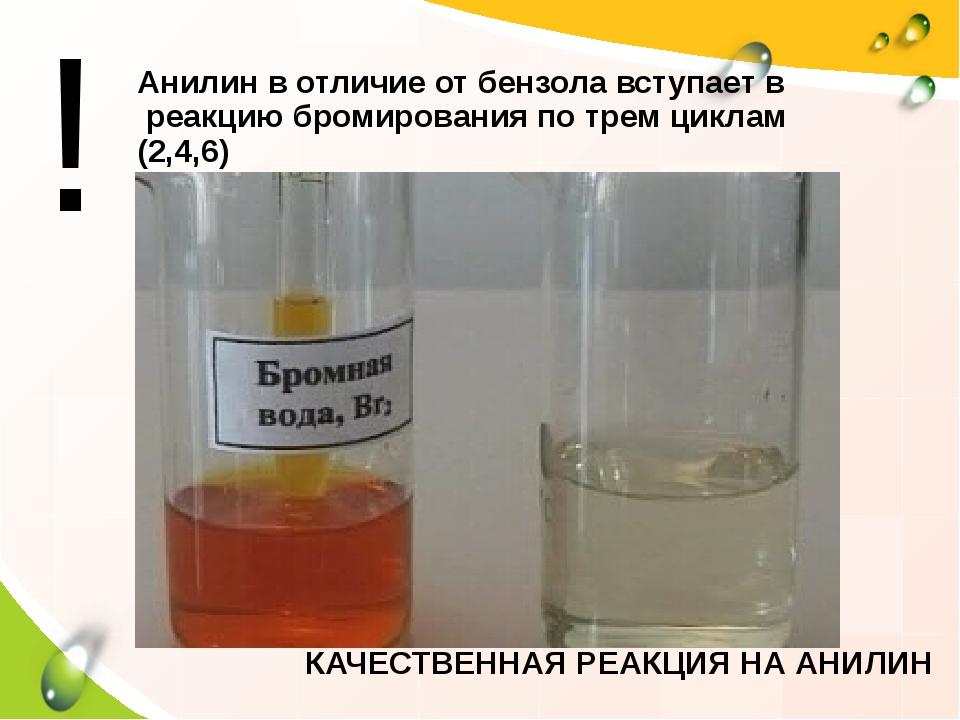 Анилин в отличие от бензола вступает в реакцию бромирования по трем циклам (2...