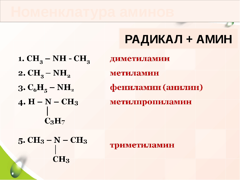 Номенклатура аминов РАДИКАЛ + АМИН