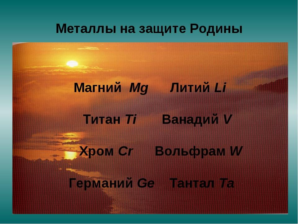 Металлы на защите Родины Магний Mg Литий Li Титан Ti Ванадий V Хром Cr Вольфр...