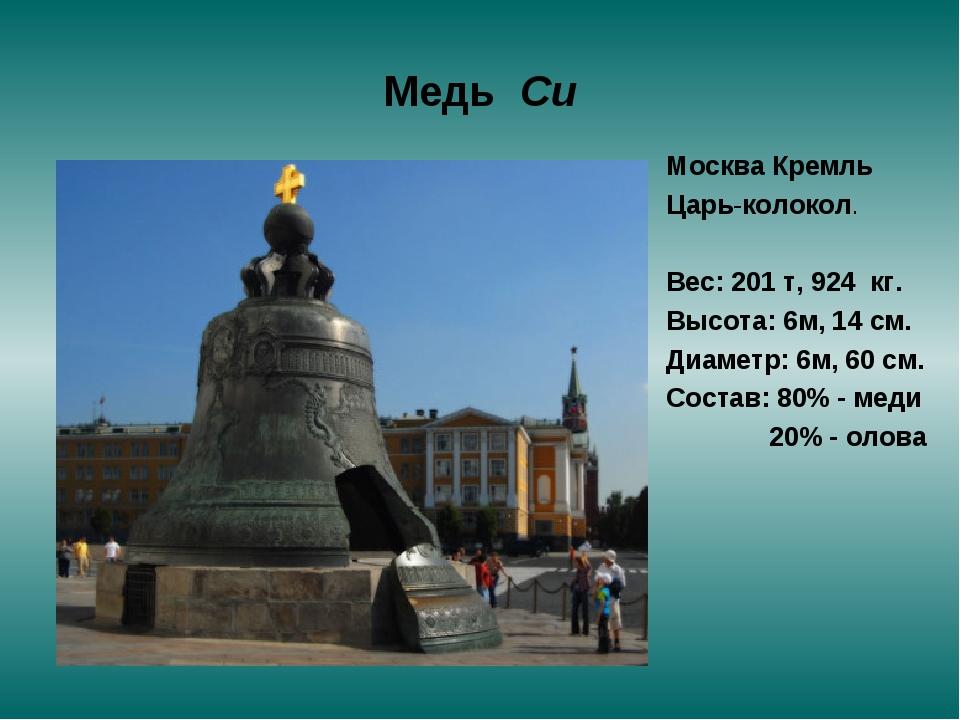 Медь Си Москва Кремль Царь-колокол. Вес: 201 т, 924 кг. Высота: 6м, 14 см. Ди...