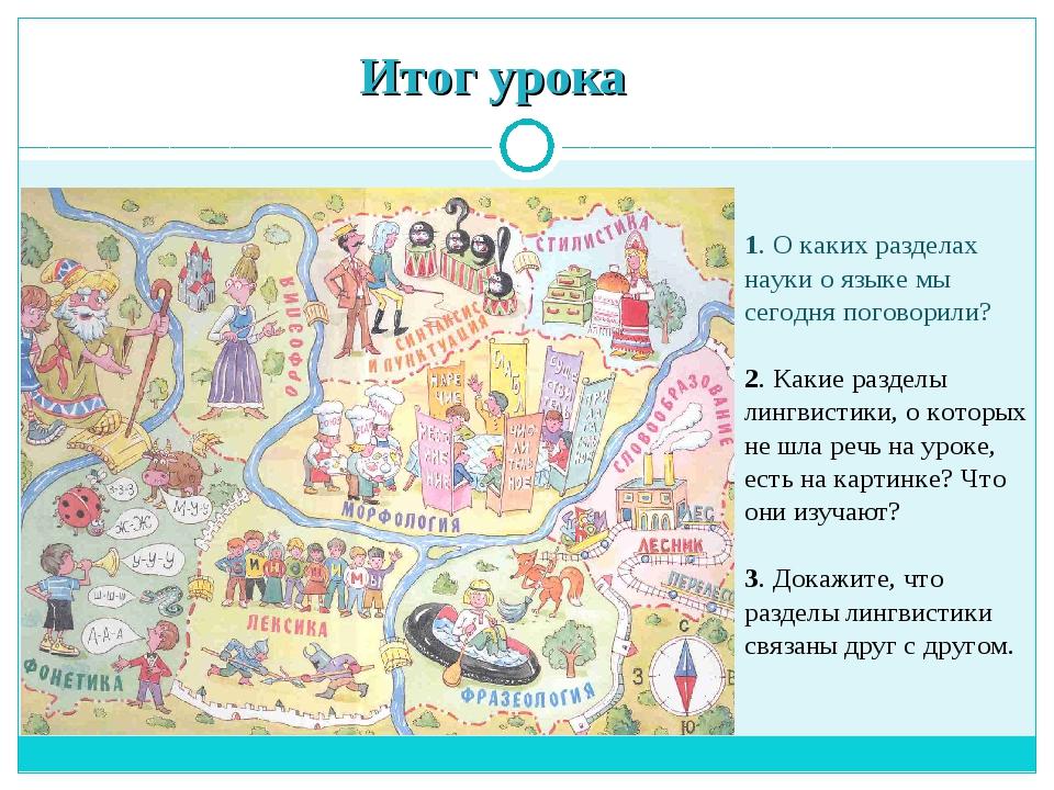 Итог урока 1. О каких разделах науки о языке мы сегодня поговорили? 2. Какие...