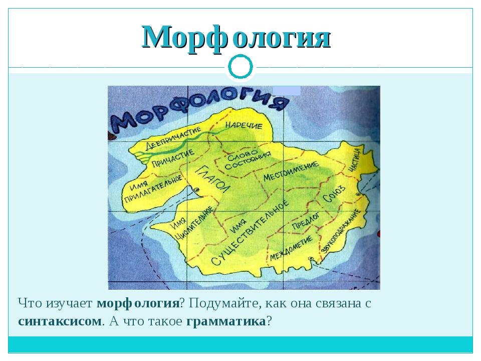 Морфология Что изучает морфология? Подумайте, как она связана с синтаксисом....