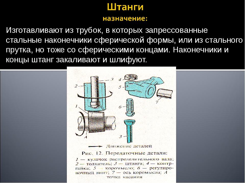 Изготавливают из трубок, в которых запрессованные стальные наконечники сферич...