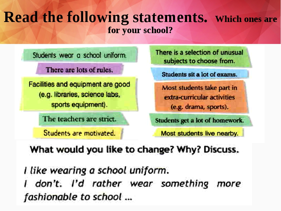 Read the following statements. Which ones are for your school?