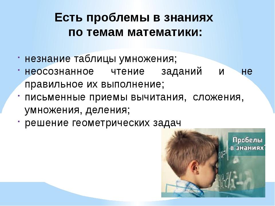 Есть проблемы в знаниях по темам математики: незнание таблицы умножения; неос...