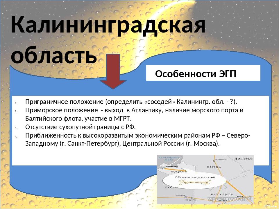 Калининградская область Особенности ЭГП Приграничное положение (определить «...