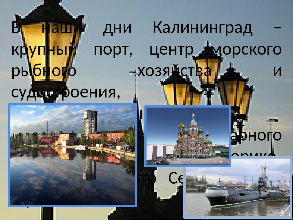 В наши дни Калининград – крупный порт, центр морского рыбного хозяйства и су...