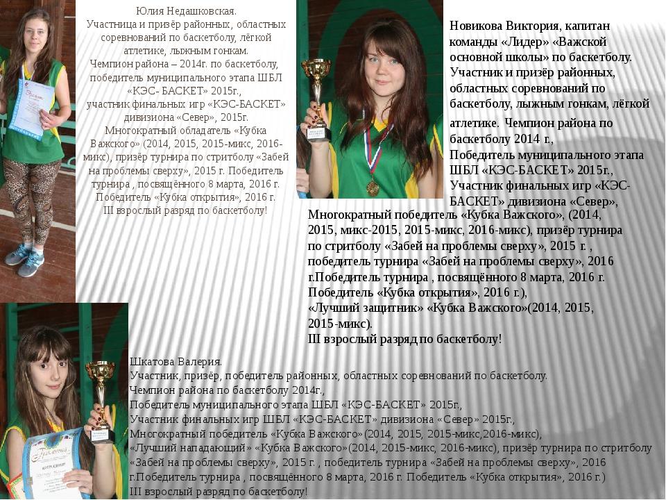 Юлия Недашковская. Участница и призёр районных, областных соревнований по бас...