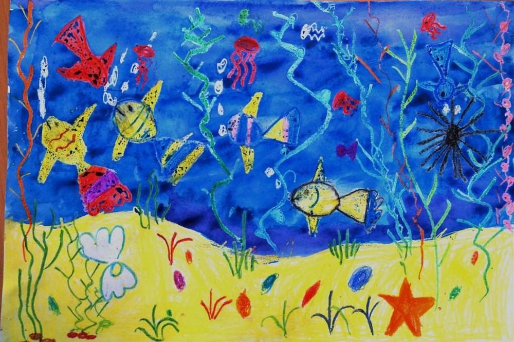 рисунок подводное царство красками названием