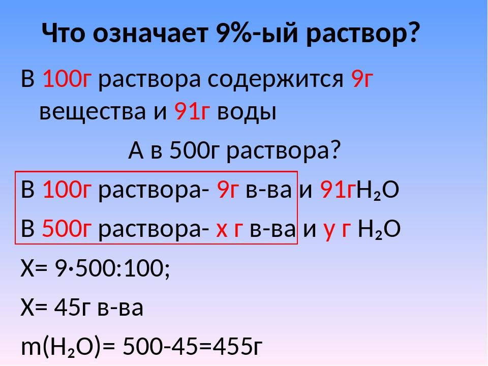 Что означает 9%-ый раствор? В 100г раствора содержится 9г вещества и 91г воды...