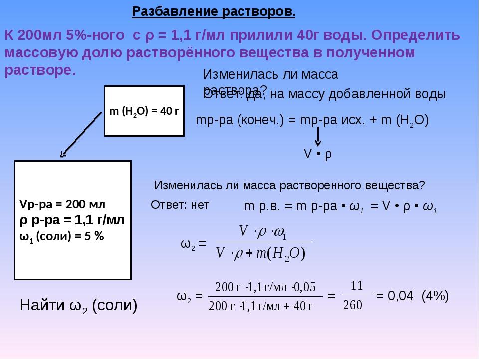 Разбавление растворов. К 200мл 5%-ного с ρ = 1,1 г/мл прилили 40г воды. Опред...