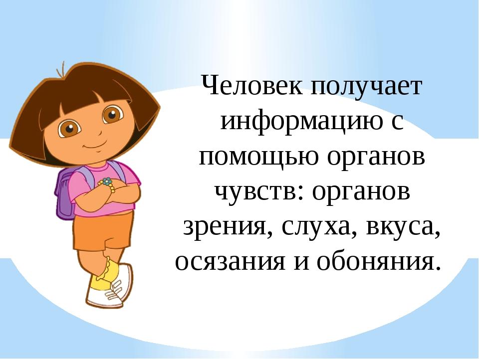 Человек получает информацию с помощью органов чувств: органов зрения, слуха,...