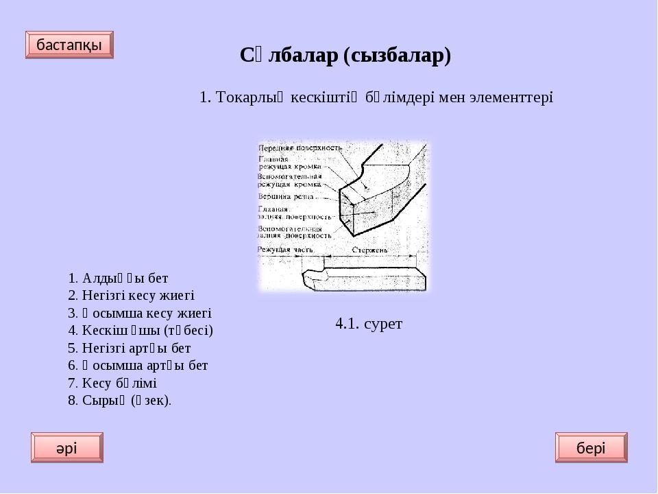 Сұлбалар (сызбалар) 1. Токарлық кескіштің бөлімдері мен элементтері 1. Алдың...