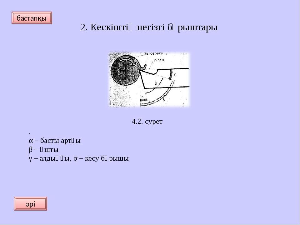 . α – басты артқы β – ұшты γ – алдыңғы, σ – кесу бұрышы 2. Кескіштің негізгі...