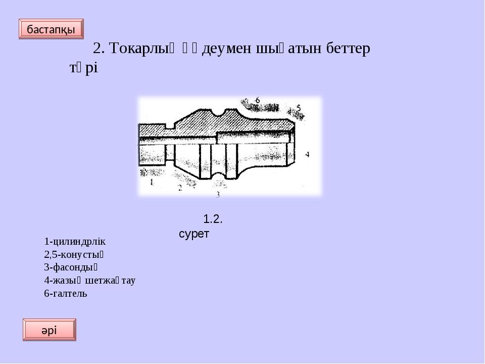 2. Токарлық өңдеумен шығатын беттер түрі 1-цилиндрлік 2,5-конустық 3-фасондық...