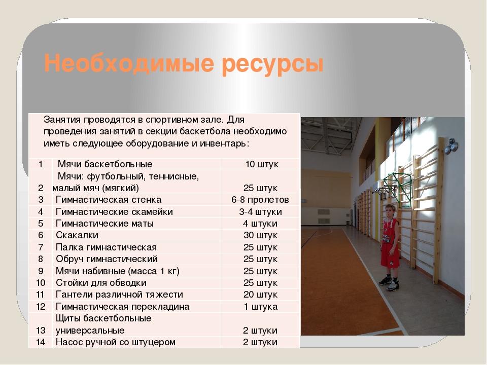 Необходимые ресурсы Занятия проводятся в спортивном зале. Для проведения заня...