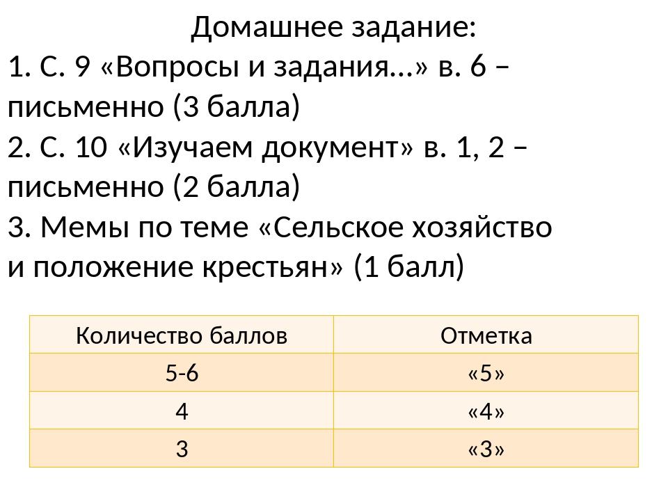 Домашнее задание: 1. С. 9 «Вопросы и задания…» в. 6 – письменно (3 балла) 2....