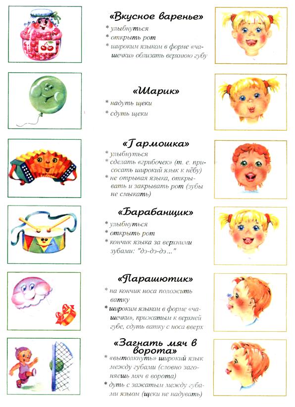 картинки с упражнениями для язычка и их описанием