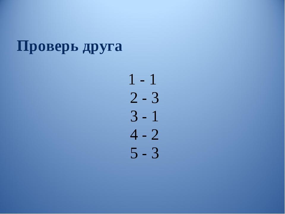 Проверь друга 1 - 1 2 - 3 3 - 1 4 - 2 5 - 3