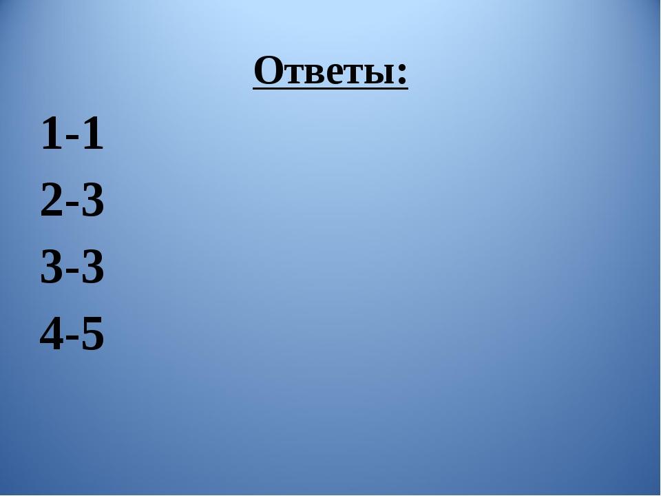 Ответы: 1-1 2-3 3-3 4-5