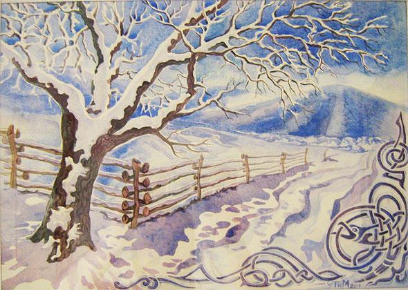 зимний пейзаж картинки карандашом для изо данной категории каталога