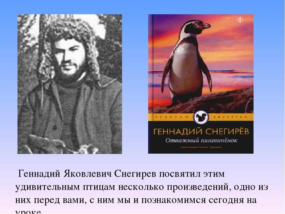 Геннадий Яковлевич Снегирев посвятил этим удивительным птицам несколько прои...