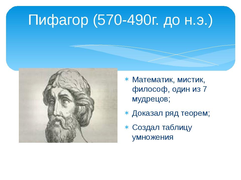 Пифагор (570-490г. до н.э.) Математик, мистик, философ, один из 7 мудрецов; Д...