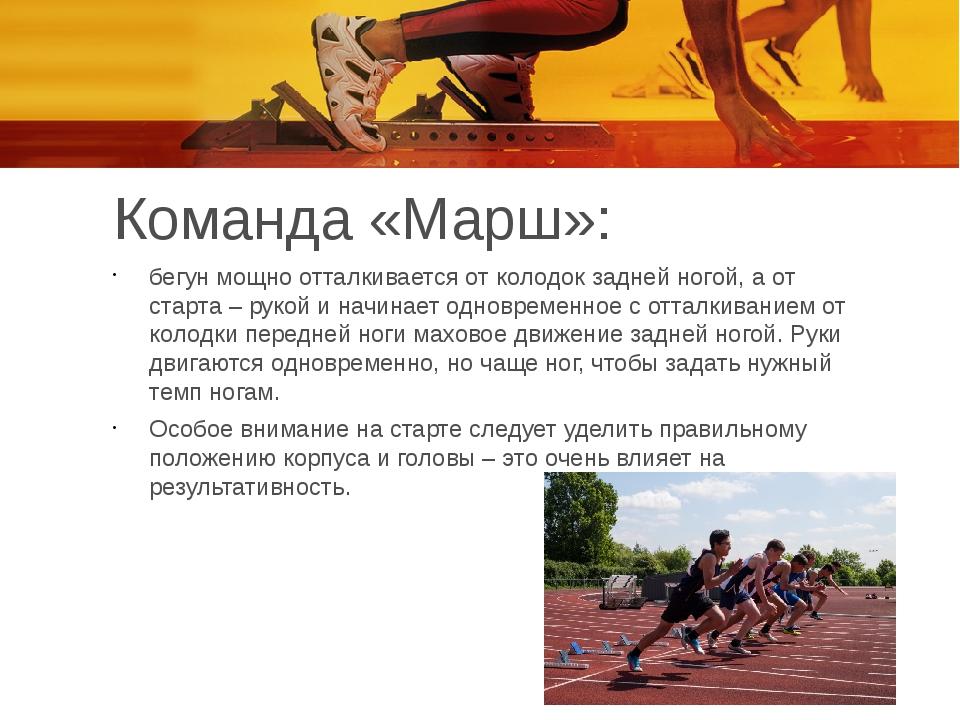 Команда «Марш»: бегун мощно отталкивается от колодок задней ногой, а от старт...