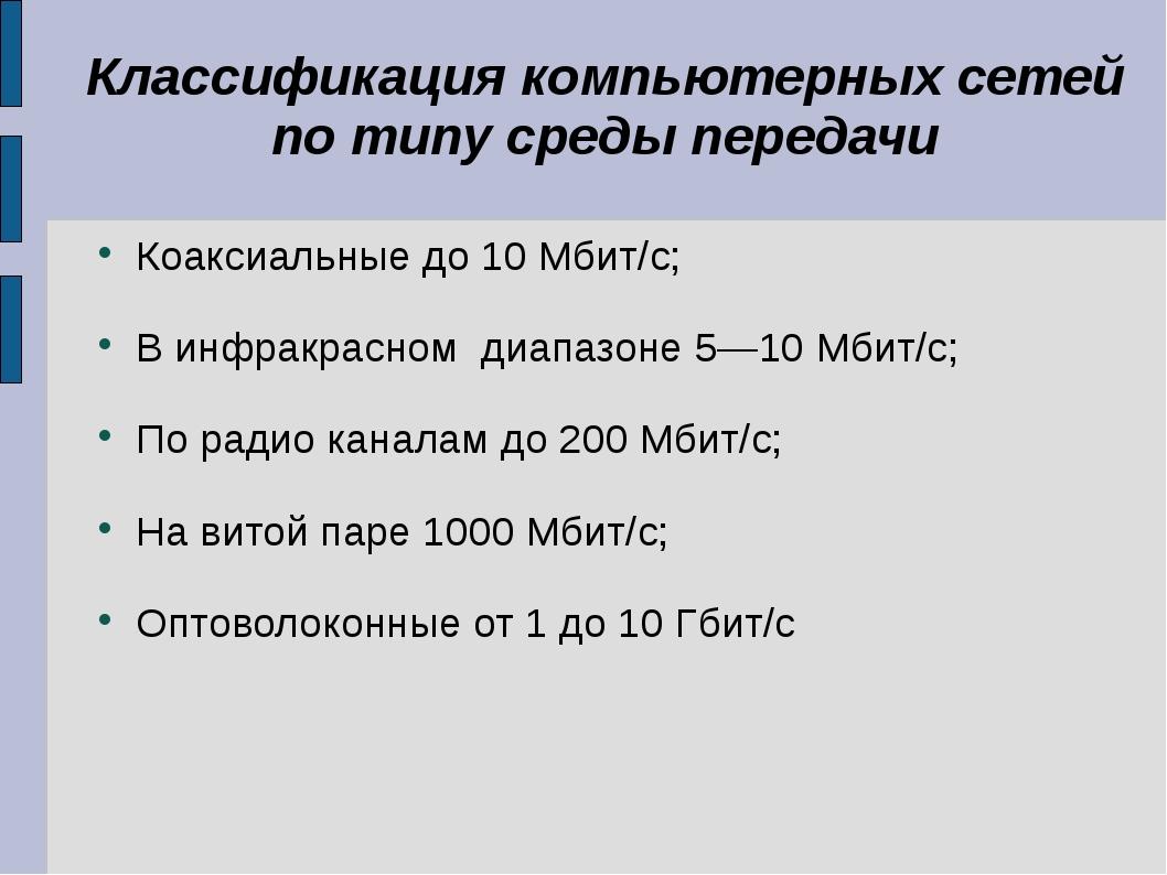 Классификация компьютерных сетей по типу среды передачи Коаксиальные до 10 Мб...