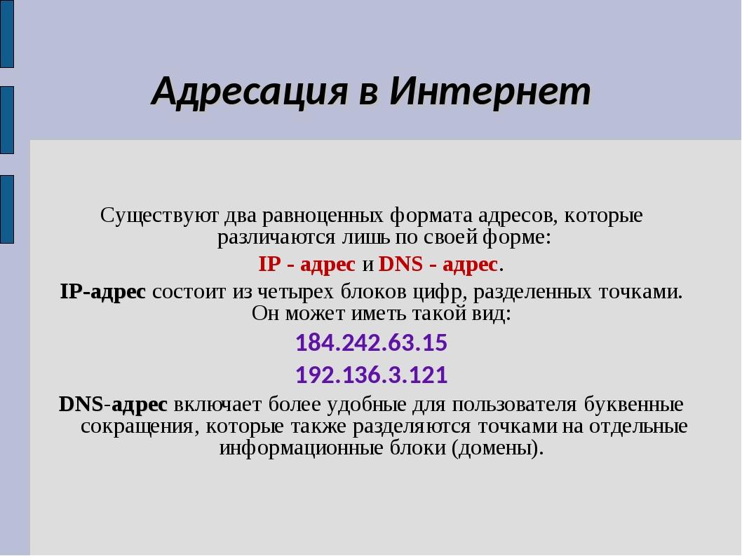 Адресация в Интернет Существуют два равноценных формата адресов, которые разл...