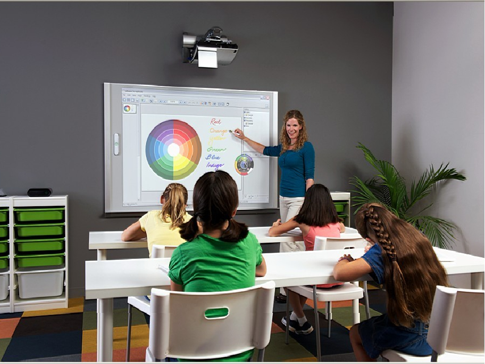 classroom with smartboard clipart - 900×604