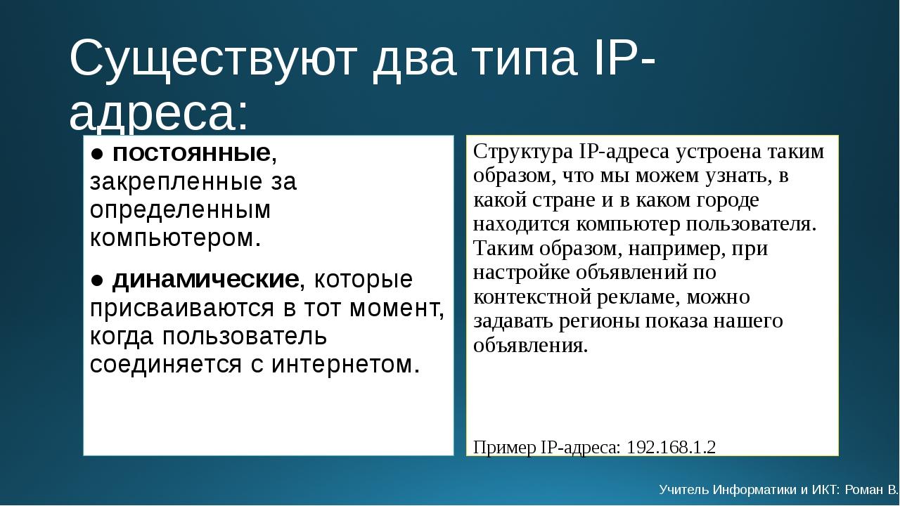 Существуют два типа IP-адреса: ● постоянные, закрепленные за определенным ком...