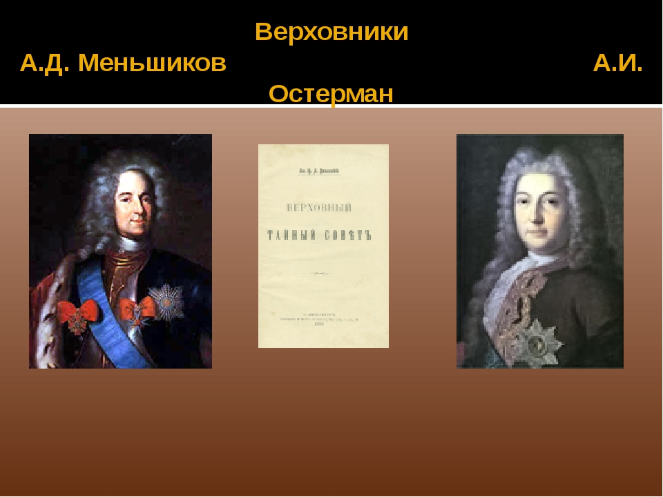 Верховники А.Д. Меньшиков А.И. Остерман