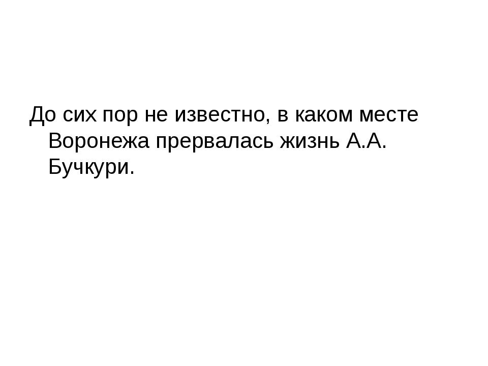 До сих пор не известно, в каком месте Воронежа прервалась жизнь А.А. Бучкури.