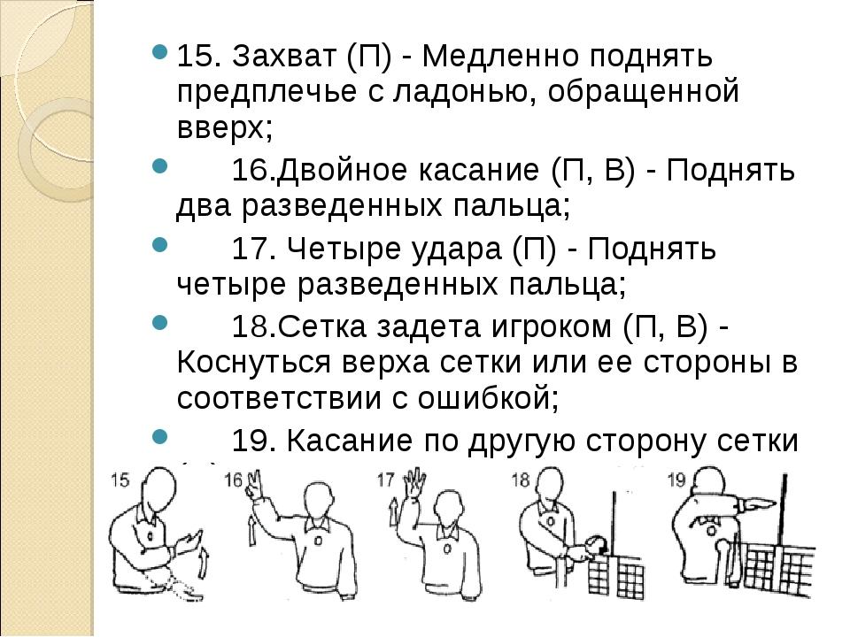 15. Захват (П) - Медленно поднять предплечье с ладонью, обращенной вверх; ...