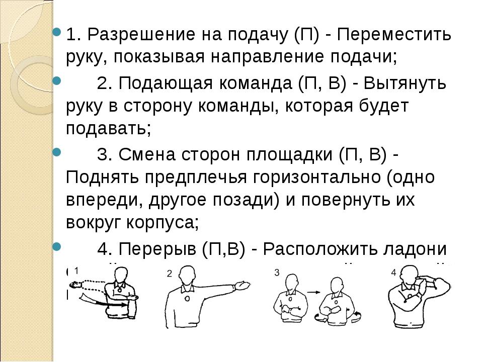 1. Разрешение на подачу (П) - Переместить руку, показывая направление подачи;...
